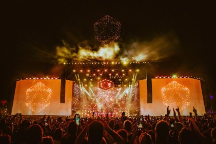ODESZA's performance brings out flying drones for a light show over the Coachella mainstage crowd.