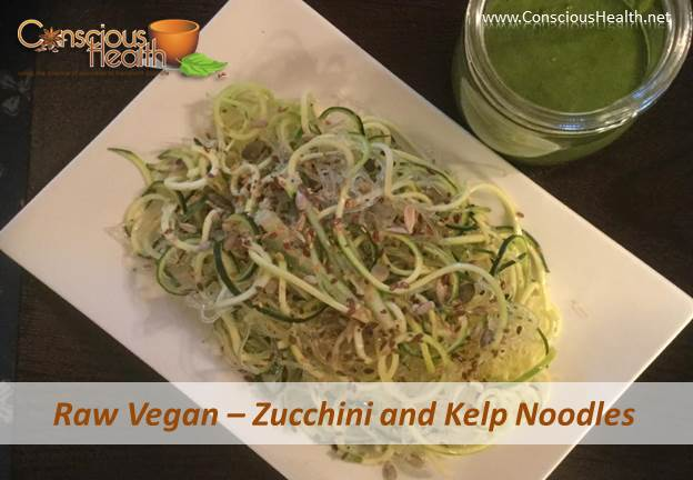 Delicious Raw Noodles - Zucchini and Kelp Noodles with Cilantro Pesto Sauce
