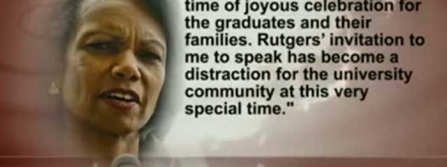 """War Criminals Shouldn't Be Honored"": Rutgers Students Nix Condoleezza Rice From Commencement Speech"