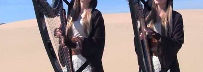 STAR WARS Medley (Harp Twins electric) Camille and Kennerly