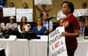 FSU student, Lissa Reed, testifies against corporate influence in the search and calling for a restructuring. Photo by the Tallahassee Democrat.