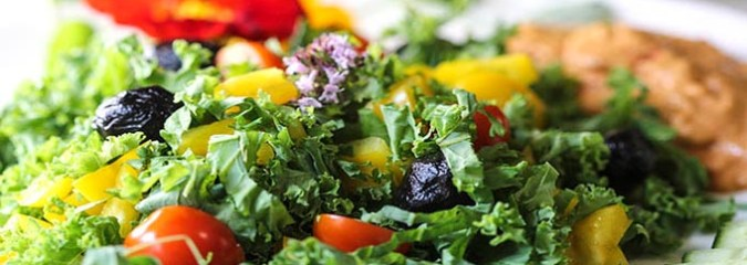 Summer Kale Salad with Hemp & Parsley Dressing