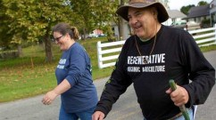 Dr. Kristine Nichols and Mark 'Coach' Smallwood, of the Rodale Institute, are walking with a message and carrying a solution. (Photo: Rodale Institute)