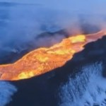 Fire and Ice: Spectacular Footage of Massive Lava Flow from Icelandic Volcano