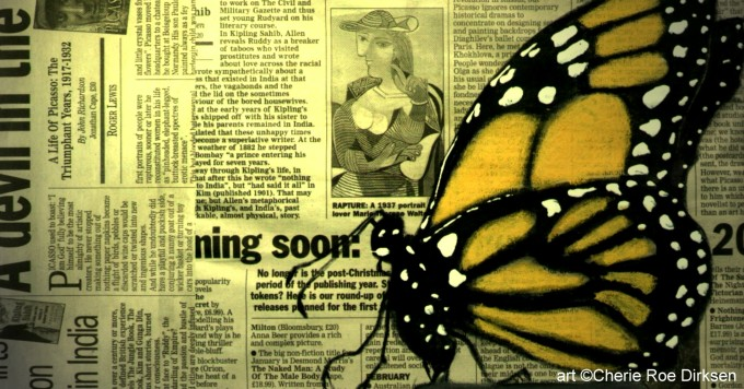 Butterfly on my Newspaper by Cherie Roe Dirksen