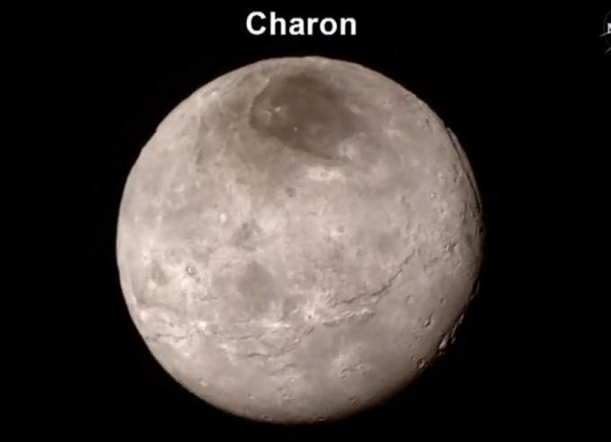 Most detailed map yet of Pluto's biggest moon, Charon. The New Horizons craft found that it has a canyon four to six miles deep, along with cliffs and troughs, according to Cathy Olkin, deputy project scientist with the New Horizons mission.