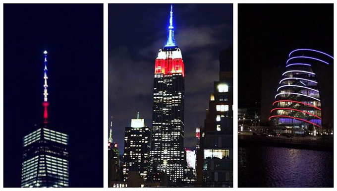 Monumental buildings around the world light up with the colors of the French flag to show support.