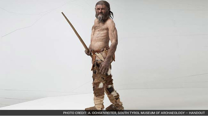 A reconstruction of a 5,000-year-old man based on his mummified remains that were found in the Italian Alps. Signs of heart disease in mummies have led some scientists to reconsider the idea that heart disease is a purely modern phenomena.