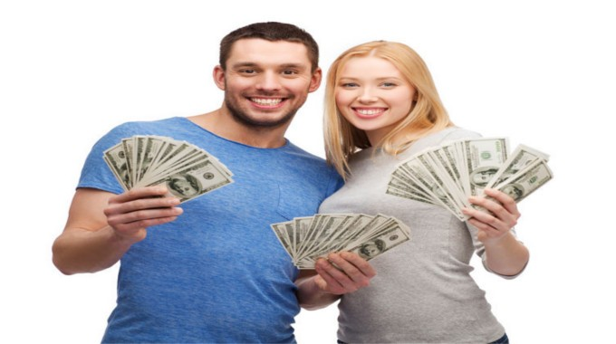 -smiling couple holding dollar cash money-compressed