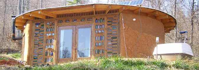 Eco-Friendly House Was Built Using Sand Bags And Glass Bottles