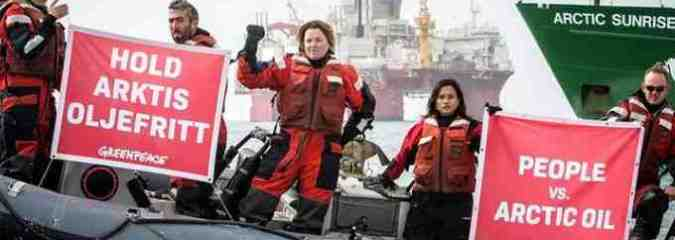 Actress Lucy Lawless Joins Greenpeace Protest Against Arctic Drilling