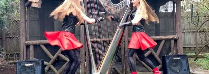 2 Girls 1 Harp! Dancing With Myself (Billy Idol) | Camille and Kennerly Harp Twins