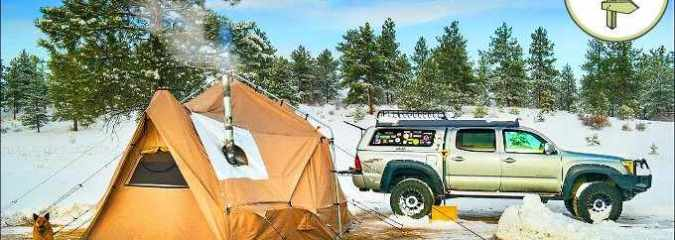 Extreme Off-Grid Living in a 4 Season Tent & Tiny Truck Camper