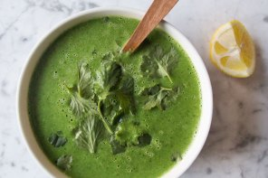 Roasted Garlic, Lemon + Greens Soup