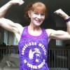 Vegan Muscle Tank Woman Flexing Posing