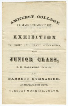 """Cover of the program for an """"exhibition in light and heavy gymnastics"""" held in Barrett Gymnasium on July 9, 1872"""