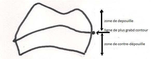 Ligne de plus grand contour d'un couronne dentaire vue en mésial.