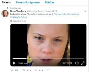 blog conseil storytelling _ copie écran Twitter de Greta Thunberg, jeune activiste écologiste