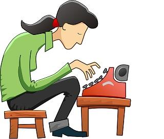 qu'est ce que le content marketing_dessin d'une femme qui tape à la machine.