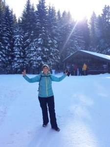 Reconversion professionnelle réussie pour Magali Pierrel, ici en vacances au ski.