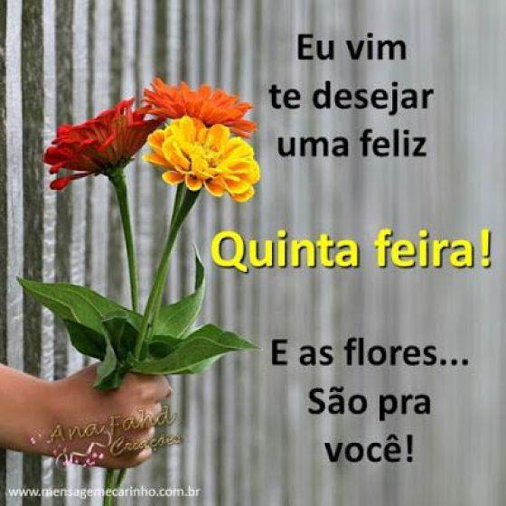 Feliz quinta Feira - Imagem com texto e flores - Site Conselheiro Cristao