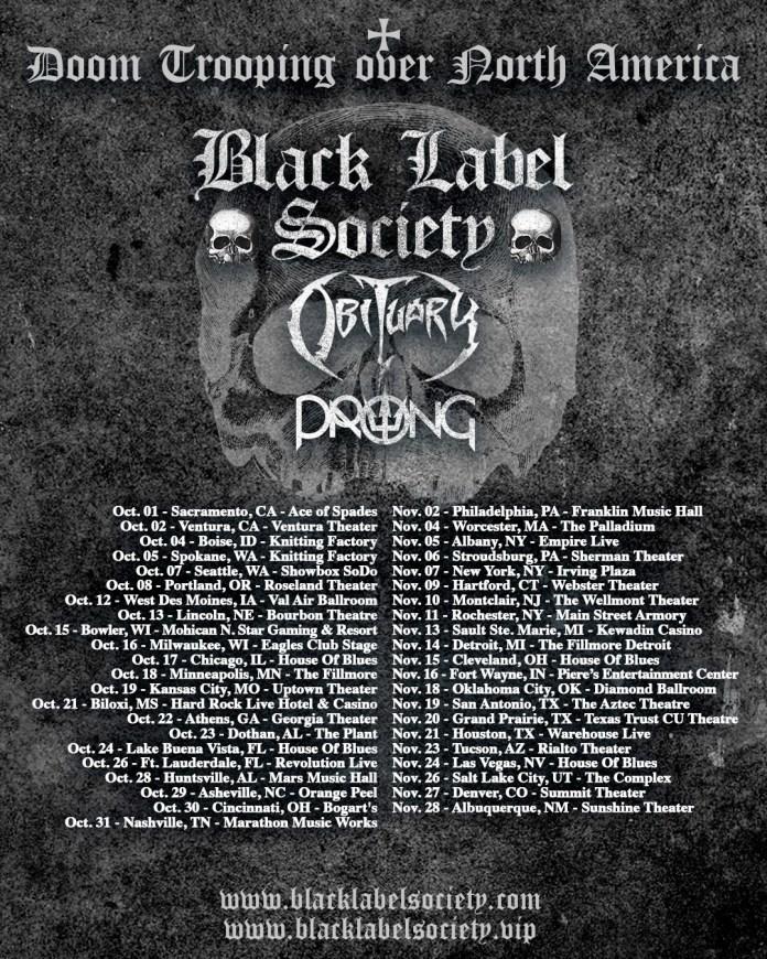 Black Label Society 2021 tour poster