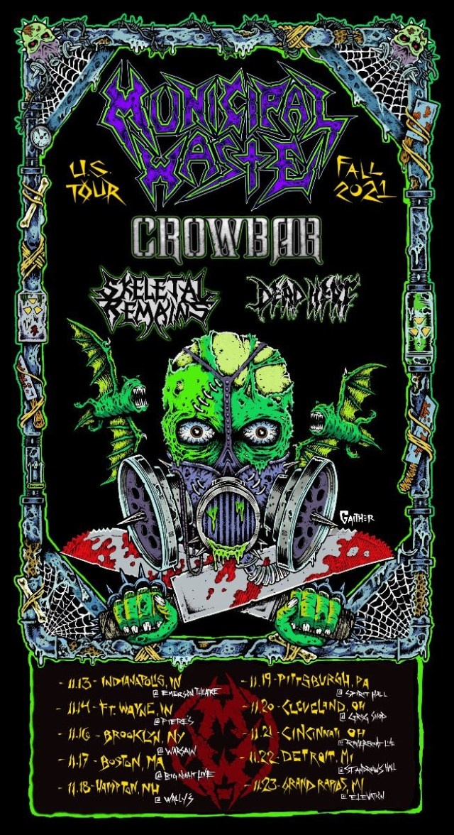 Municipal Waste Announce Fall 2021 US Tour with Crowbar