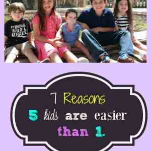 7 Reasons 5 Kids are Easier than 1.