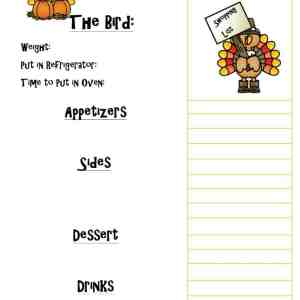 Printable Thanksgiving Day Menu