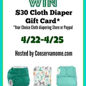 Earthday $30 Cloth Diaper Gift Card Giveaway ends 4/25