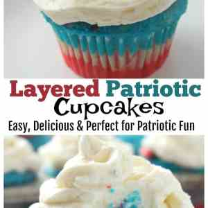 Layered Patriotic  Cupcakes – Red, White & Blue Patriotic fun!
