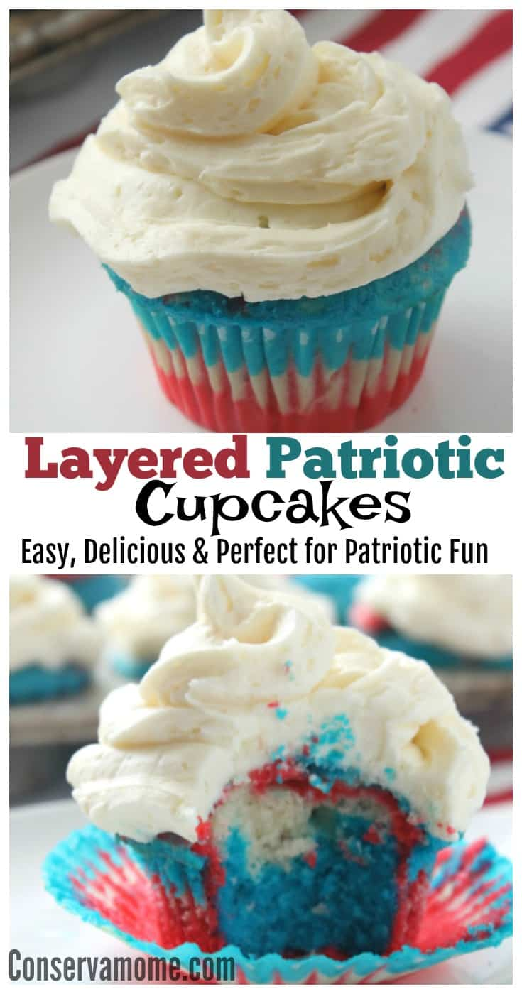 Dive into Summer with these layered Patriotic Cupcakes. These delicious Red,White and Blue Layered cupcakes will be a favorite at any gathering!