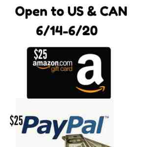 Pick Your Prize $25 Amazon Gift card or Paypal Cash Ends 6/20