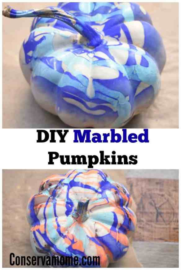 DIY Marbled Pumpkins are a fun spin on Fall pumpkin painting. Crazy easy to do and with gorgeous results, you'll love this project! AKA Nail Polish Pumpkins