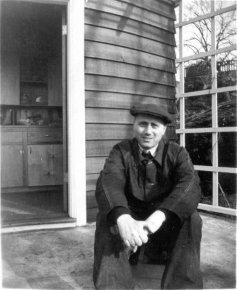 Nicholas in front of Summer House (courtesty UVic Archives)