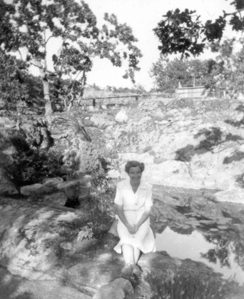 Peggy sitting in the garden (coutesty UVic Archives)