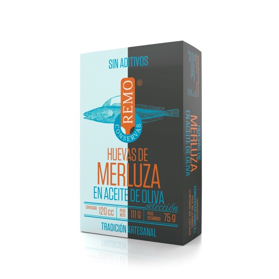 Huevas de Merluza en Aceite de Oliva. Lata 111 g