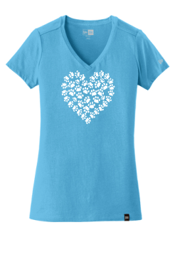 Sky Blue Cat Paw Heart T Shirt with White