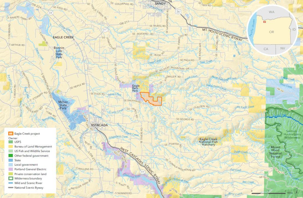 Location of the Eagle Creek Community Forest project (map by The Trust for Public Land)