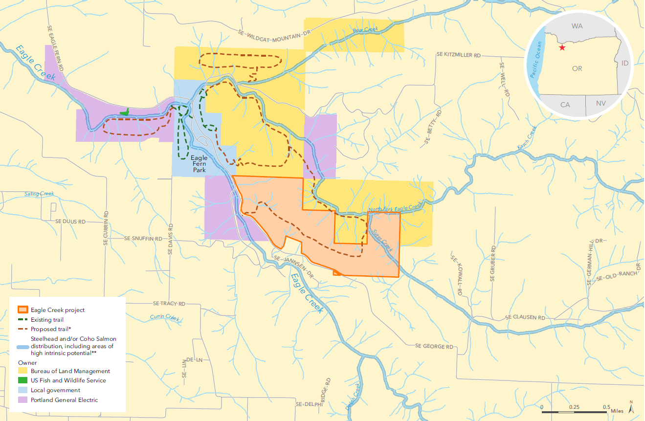 Possible trail locations, Eagle Creek Community Forest (map by The Trust for Public Land)