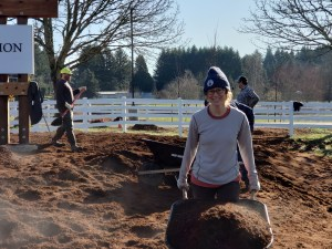"""Fourteen staff members participated in the """"planting party."""""""