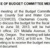 Notice of Budget Committee Meeting
