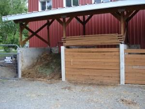 Three bin manure composting system at Beaver Lake Stables.