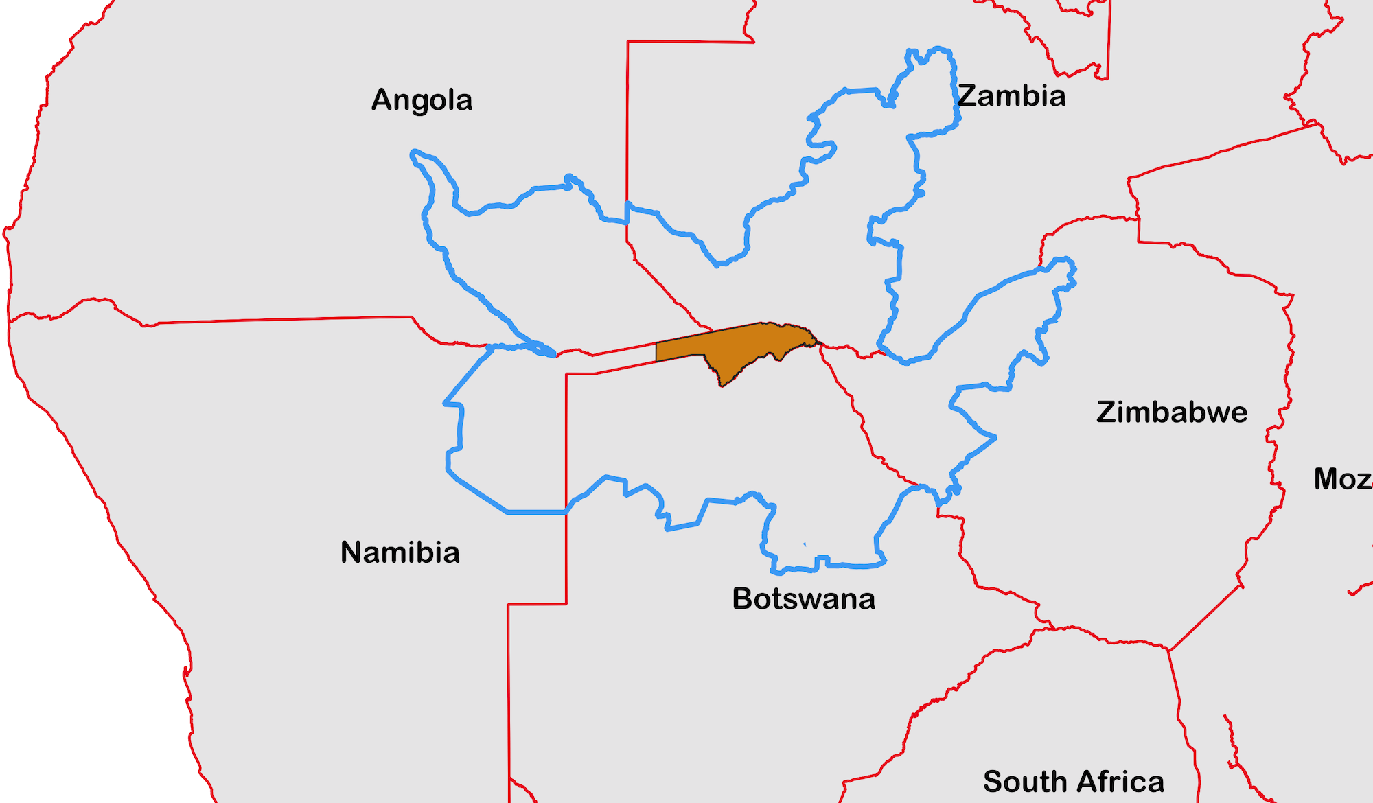 A map of the KAZA area showing where the Zambezi region fits