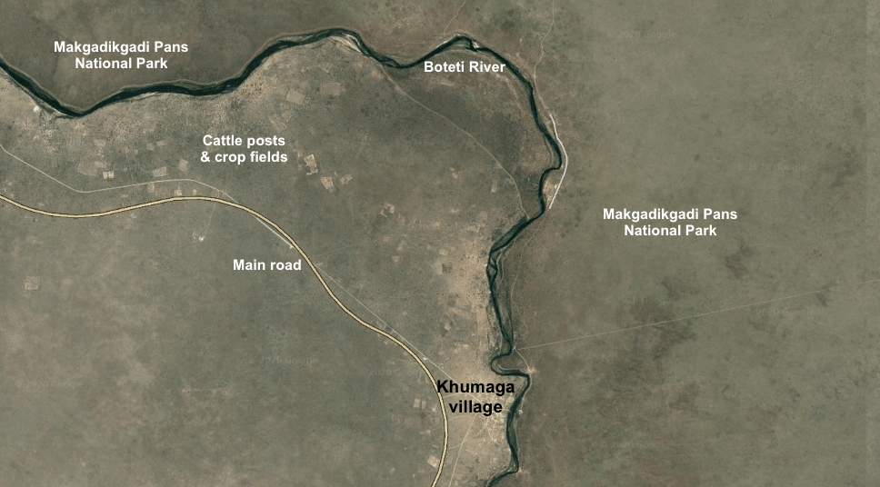 A Google Earth map of the Boteti river.