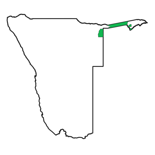A map of Namibia showing the location of the Zambezi region and Khoudum national park.