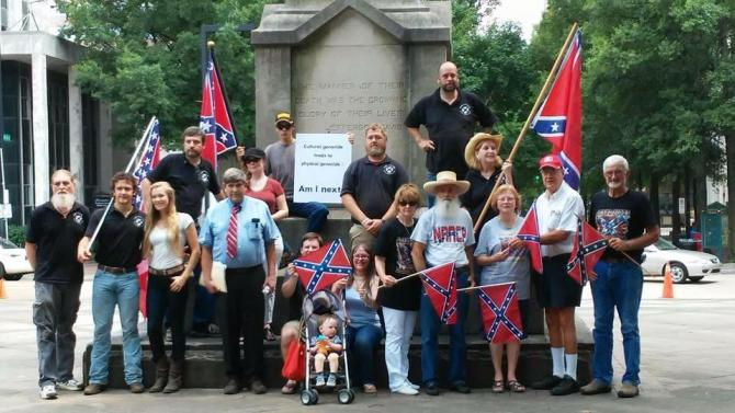 C of CC and League of the South members and supporters gather in Linn Park