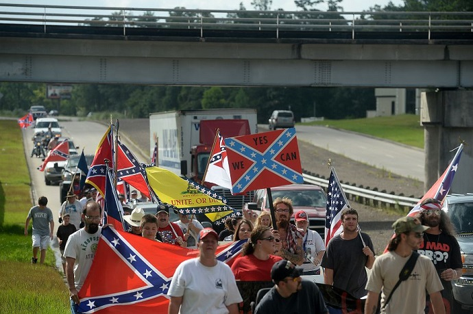 100 people march in support of the Confederate Battle Flag in Silsbee, TX (July 5, 2015)