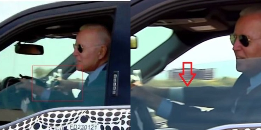 Why Was Joe Biden Pretending to Drive an F-150_ Second Driver and Steering Wheel Clearly Seen in Video.