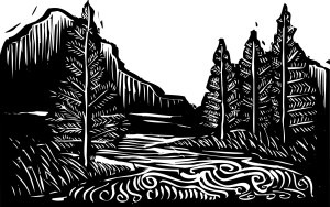 http://www.dreamstime.com/stock-image-woodcut-landscape-style-expressionist-trees-river-image31174061